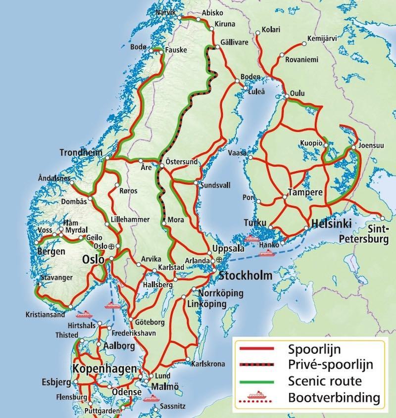 Spoorlijnen in Noorwegen